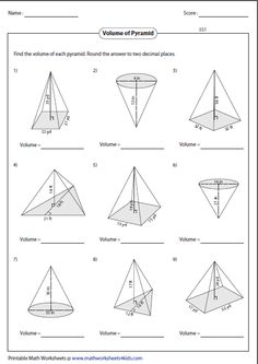 Prisms, Pyramids, Cylinders & Cones Surface Area