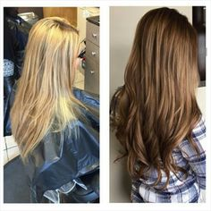Beautiful hair transformation from blonde to a rich brunette.  Created by Stylist Corin!