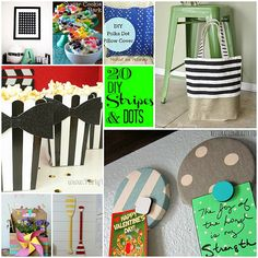 20 DIY Stripes and Dots projects. Bring these patterns into your home with these ideas! -- Tatertots and Jello