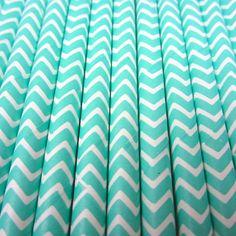 25 Aqua Chevron Stripe Paper Straws  by CharmiosCraftParty on Etsy, $3.95