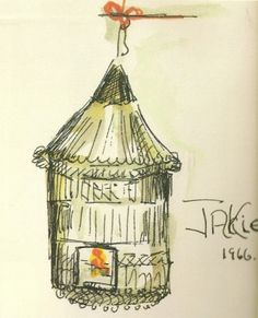 An ink and watercolor rendering of a bird in a cage - with the door left open - by Jackie Kennedy in 1966