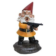 """Nothing's quite so good for home security as a gangster gnome with a tommy gun hanging out in your garden and quoting Scarface. """"Say hello…"""