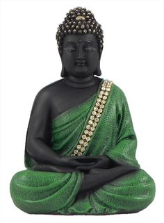 Meditating+Buddha+in+Green+Robe+(Poly+Resin)