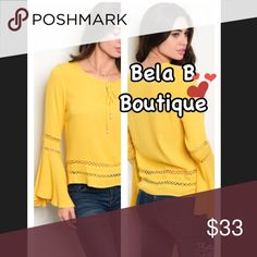 Long bell sleeves shirt ✨New Bela B Boutique collection 🌟 🌹Long bell sleeves mustard shirt •sizes S M L - please check the size measure (: sizes run small  •STUNNING sleeves •neck tie with pearls and crystal •fantastic for the in-between season- can wear as it is and wear a jacket on the top in the evening! 🍃🌥 available by angela fashion Tops