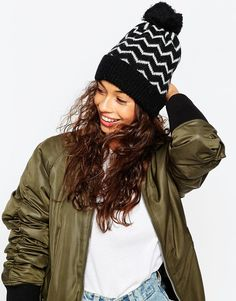 Buy ASOS Chevron Alpaca Mix Beanie With Pom at ASOS. With free delivery and return options (Ts&Cs apply), online shopping has never been so easy. Get the latest trends with ASOS now. Pom Pom Beanie Hat, Beanie Hats, Beanies, Asos, Winter Hats, Winter Jackets, Color Stripes, Bunt, Latest Trends