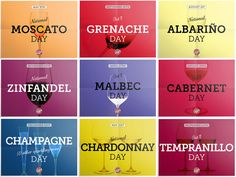 """We can be thankful that National Wine Day (on May 25th) is not the only official wine day of the year. There are at least 14 other days where wine is """"official business."""" So, the next time you need a reason (as if you do), try the calendar below."""