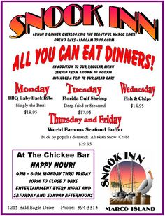 All you can eat - Snook Inn - Marco Island Florida - Outside dining - Entertaiment