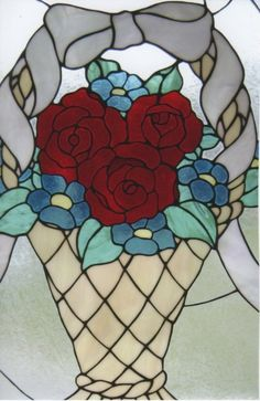 Basket of flowers stained glass