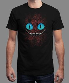 """We're All Mad Here"" is today's £8/€10/$12 tee for 24 hours only on www.Qwertee.com Pin this for a chance to win a FREE TEE this weekend. Follow us on pinterest.com/qwertee for a second! Thanks:)"
