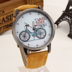 "Excellent womens watches ""I want to ride my bicycle"" suit young and bright personalities. They magnetically attract the eye by a chic retro style pattern. Wide soft strap width of about 2 cm comfortab"