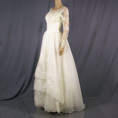 1960s wedding dress with lace bodice and by TiddleywinkVintage, $425.00