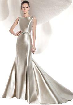 Sleeveless Micado Satin Fin n flare wedding dress | Demetrios 3207 | Theknot.com