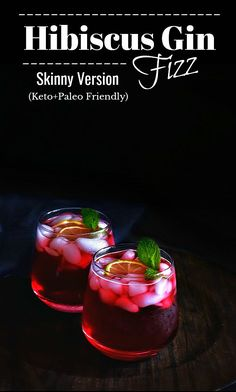 skinny drinks Alcohol Simple Syrup is part of Best Skinny Drinks Alcohol Recipes Yummly - Hibiscus Gin Fizz Recipe hibiscus gin fizz keto cocktail paleo lowcarb sugarfree Keto Cocktails, Gin Cocktail Recipes, Gin Drink Recipes, Cocktail Food, Alcohol Recipes, Craft Cocktails, Irish Cream, Tequila, Smoothie