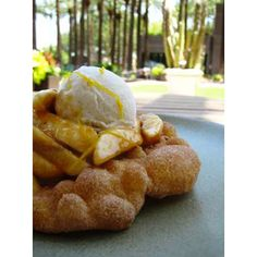 Indian Fry Bread with Ice Cream, Bananas, and Caramel Sauce