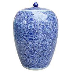 Decor - Cluster Flower Chinoiserie Ginger Jar - Blue & White
