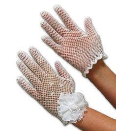 Cotton Crochet Shortie Gloves with Sheer Pleated Flower in White Greatlookz Colors: White Crochet Adult Hat, Crochet Gloves, Crochet Cross, Hand Crochet, Mitten Gloves, Mittens, Linens And More, Driving Gloves, Wedding Store