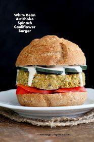 Vegan Richa: Artichoke Spinach Cauliflower Bean Burgers. Grill-able Vegan Veggie Burger Recipe.