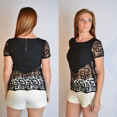 Breezy Black Lacey Top. Short sleeve top with lace sleeves and lace bodice. Exposed zipper on back. Perfect for a night out or a hot summer day.#iAmAdorned
