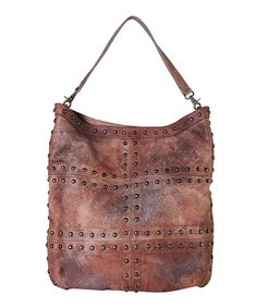 Look at this Diophy Leather Brown Leather Studded Hobo on #zulily today!