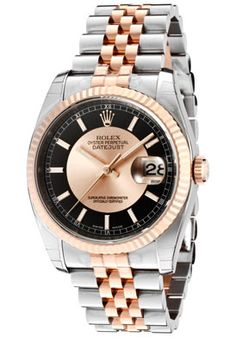 Rolex 116231 BKRSJ Men's Datejust Automatic Pink Champagne/Black Dial Jubilee Stainless S « eStyleMe eStyleMe