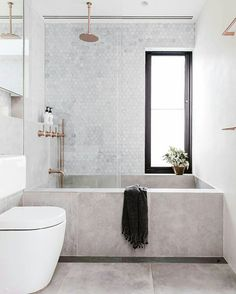 concrete bathtub and tile backsplash in modern sydney bathroom via inside out magazine. / sfgirlbybay concrete bathtub and tile backsplash in modern sydney bathroom via inside out magazine. Bathroom Goals, Bathroom Inspo, Bathroom Ideas, Bathroom Designs, Bathroom Grey, Bathroom Mirrors, Bathroom Organization, Bathtub Ideas, Bathroom Marble