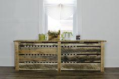 RudeWood custom built radiator cover. Sturdy enough to be a bench or display area for whatever suits you. Reclaimed pallet wood oak. www.rudewooddesign.com