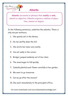 Grade 3 Grammar Topic Adverbs Worksheets - Lets Share Knowledge Teaching English Grammar, English Grammar Worksheets, Grammar Lessons, Grammar Tips, Parts Of Speech Worksheets, Worksheets For Grade 3, Vocabulary Worksheets, Printable Worksheets, Adverb Activities