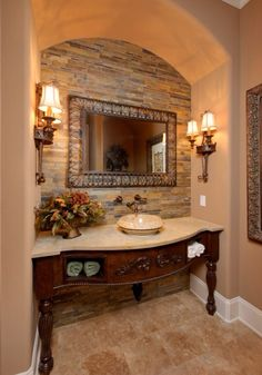 Powder Room Vanity Small Design Ideas, Pictures, Remodel and Decor Dream Bathrooms, Beautiful Bathrooms, White Bathrooms, Luxury Bathrooms, Master Bathrooms, Contemporary Bathrooms, Powder Room Vanity, Powder Rooms, Tuscan Bathroom