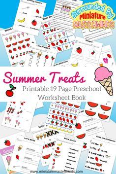 Summer Treats 19 Page Printable Workbook for preschoolers.