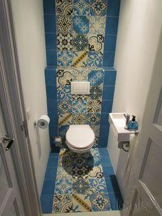 Tile: Patchwork bonte mix blauw | Designtegels.nl