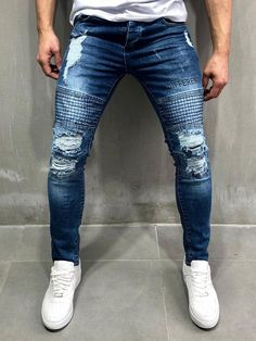 Cargo Jeans with Zipper Detail - Blue Cargo Jeans, Jeans Fit, Slim Fit Mens Jeans, Jeans Denim, Patched Jeans, Slim Fit Pants, Ripped Skinny Jeans, Skinny Fit, Blue Jeans