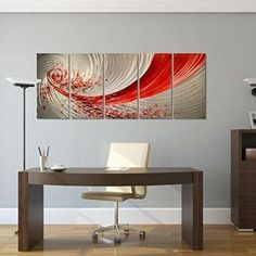 Pure Art Red Explosion Metal Wall Art - Large Abstract Set of 5 Panels – Modern Hanging Sculpture – Enhancing Artwork for Home or Office Measures 64 Red Wall Decor, Red Wall Art, Abstract Metal Wall Art, Red Home Decor, Modern Wall Decor, Large Wall Art, Artwork For Home, Home Wall Art, Red Wall Clock