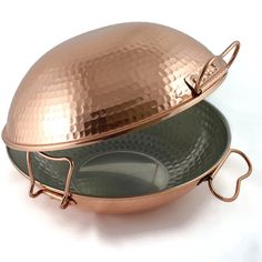 Original portuguese copper cataplana pan vitroceramic 10 inch: