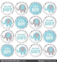 Etiquetas Caramelos Elefante Cículos Elefante Azul y Gris