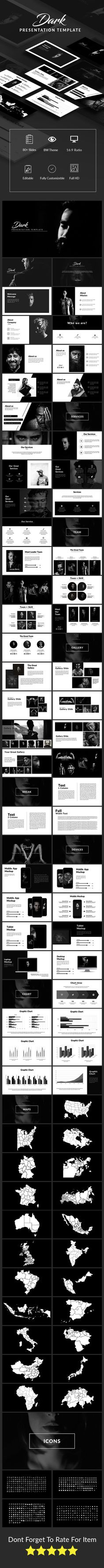 Dark #Presentation Template - #Keynote Templates Presentation Templates Download here: https://graphicriver.net/item/dark-presentation-template/20027986?ref=alena994