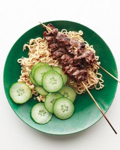 Beef Satay with Peanut-Ginger Ramen Recipe