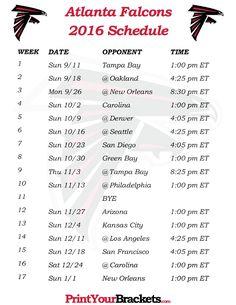 Printable Atlanta Falcons Schedule - 2016 Football Season