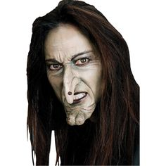 Kids Costumes - Everything you need for this classic witch look! Witch Face Nose and Chin - Prosthetic Costume Accessory includes two Latex Hollywood Prosthetic pieces featuring long point witch nose and bumpy witch chin. Halloween Makeup Witch, Witch Makeup, Adult Halloween, Halloween Design, Halloween Masks, Scary Halloween, Halloween Ideas, Fun Makeup, Pretty Halloween