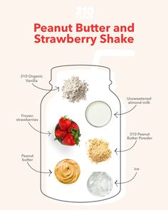 We're taking the classic strawberry shake to the next level with this Peanut Butter and Strawberry Shake! It's made with just six whole ingredients and can be blended up within minutes for a satisfying and yummy snack, meal, healthy dessert, or pre or post-workout drink. Healthy Breakfast Recipes, Yummy Snacks, Yummy Drinks, Healthy Drinks, Protein Powder Recipes, Protein Shake Recipes, Protein Shakes, Clean Recipes, Drink Recipes