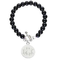 Sterlng Silver Plated Black Bead Monogrammed Bracelet