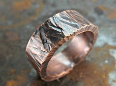 Custom Made Wide Mens Ring Copper, Bold Copper Ring, Cool Mens Ring Copper