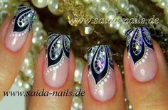 Black, white & glitter floral french tips By Saida