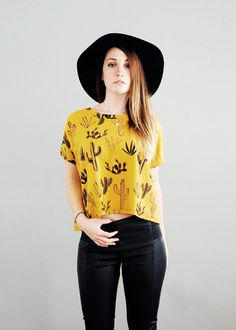 Cumin Cactus  Box Crop Top  Cropped tshirt  by Simka by SimkaSol