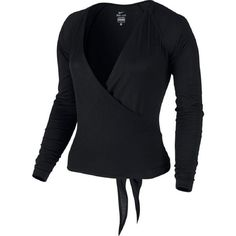 Nike Dance Women's Black Ballet Wrap Cardigan Tie Top (XL) ($1,499) ❤ liked on Polyvore featuring tops, cardigans, wrap style top, tie top, ballet cardigan, wrap tops and wrap tie top