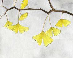 Natur Herbstszenen Aquarell Pflanze gelbe von moonflowermuse