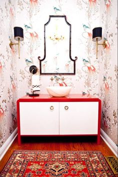 bathrooms_-_Peacocks_orange_marble_vessel_sink_brass_black_bamboo_wallpaper_grasscloth_doors_oriental_rug_osborne_and_little_hardwoods_beade...
