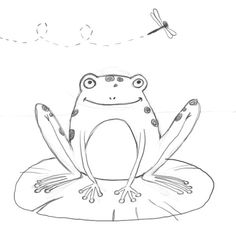 How to draw a frog on lily pad step by step. Drawing