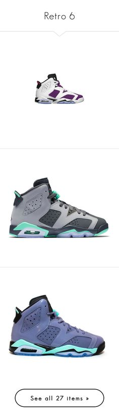 """""""Retro 6"""" by therealporshamarie ❤ liked on Polyvore featuring shoes, jordans, sneakers, purple shoes, retro style shoes, retro inspired shoes, retro shoes, bleach shoes, men's fashion and men's shoes"""