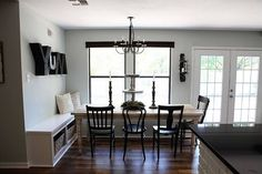 dining layout inspiration @Victoria Barber Garretson - in my front area, a bench and then a couple chairs or more subtle stools? // Living With Kids: Joanna Gaines