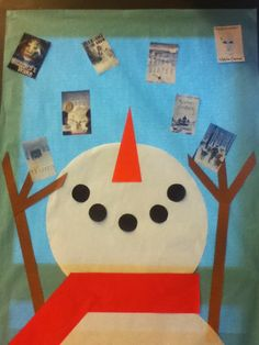 Snowman library display at DCG Middle School Library